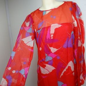 VINTAGE Full Length Long Sleeve Dress Red Abstract